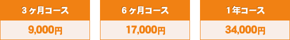 3ヶ月コース9,000円、6ヶ月コース17,000円、1年コース34,000円